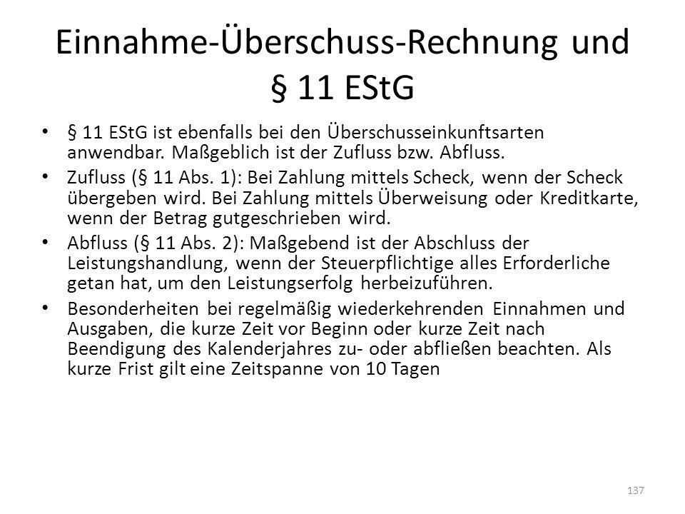 Einnahme-Überschuss-Rechnung und § 11 EStG