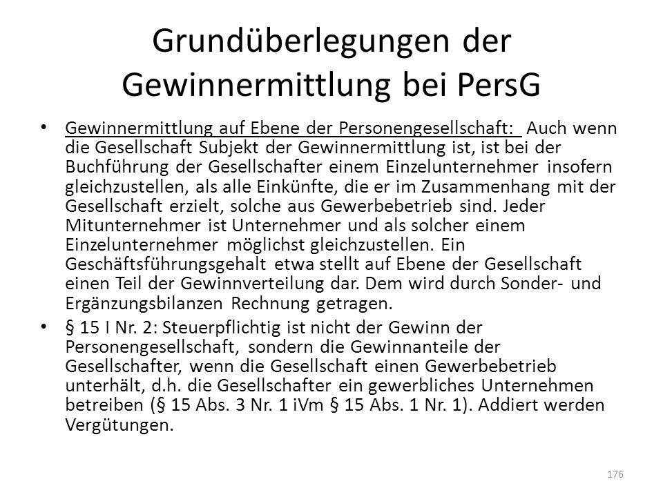 Grundüberlegungen der Gewinnermittlung bei PersG