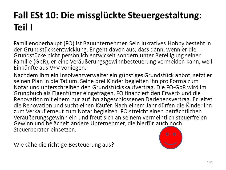 Fall ESt 10: Die missglückte Steuergestaltung: Teil I