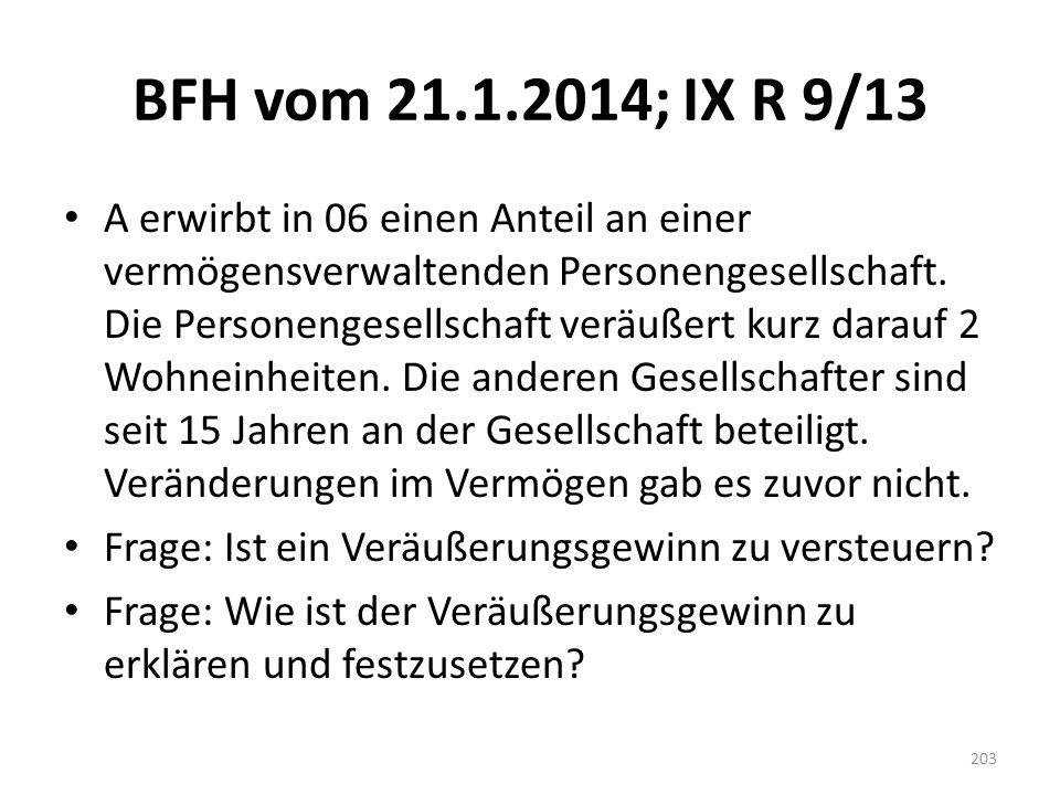 BFH vom 21.1.2014; IX R 9/13