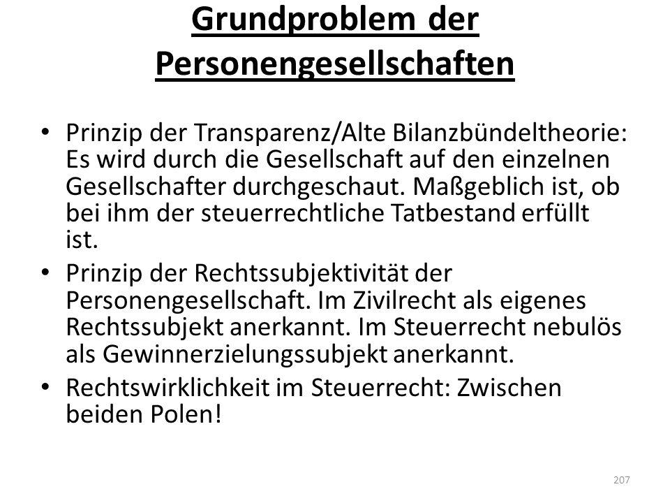 Grundproblem der Personengesellschaften
