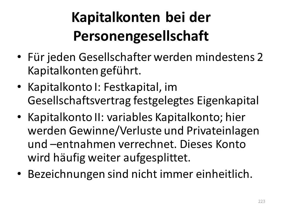 Kapitalkonten bei der Personengesellschaft