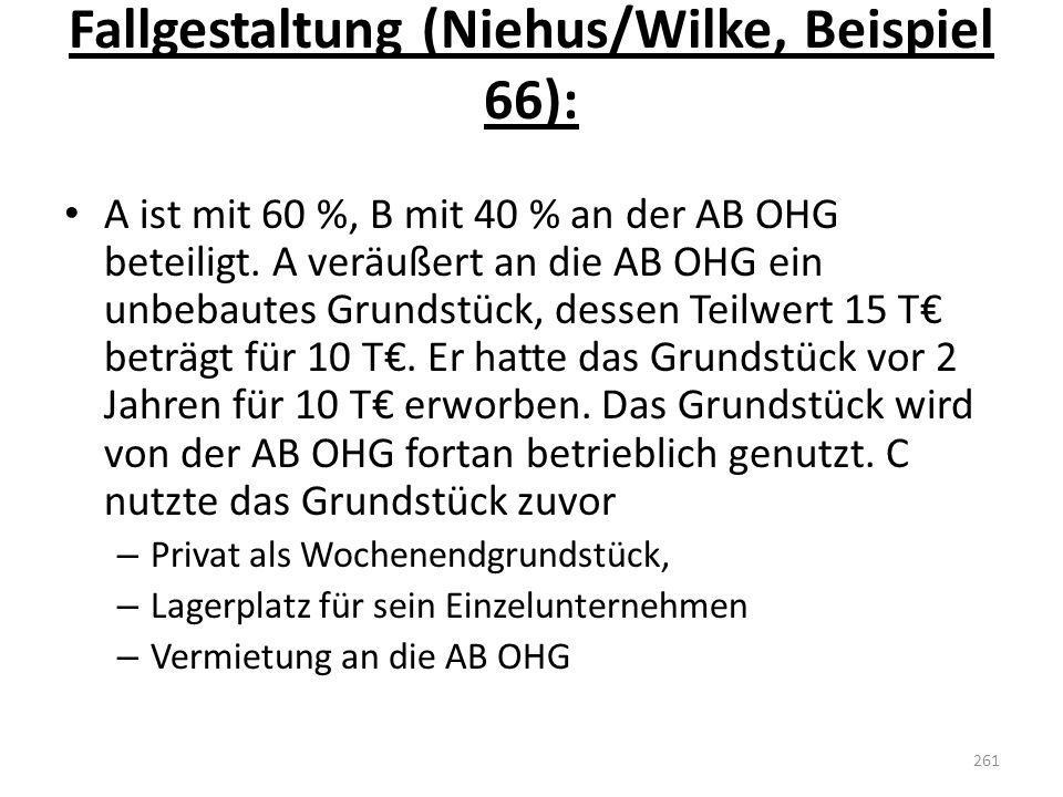 Fallgestaltung (Niehus/Wilke, Beispiel 66):