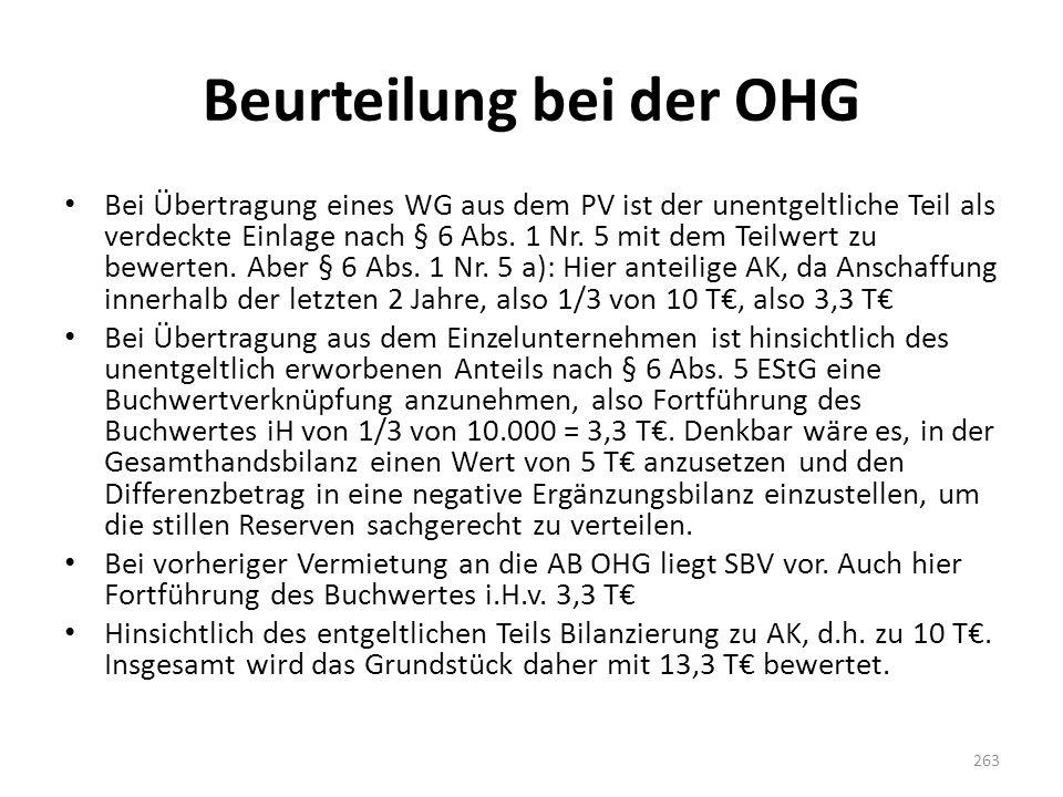 Beurteilung bei der OHG