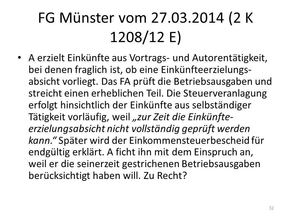 FG Münster vom 27.03.2014 (2 K 1208/12 E)