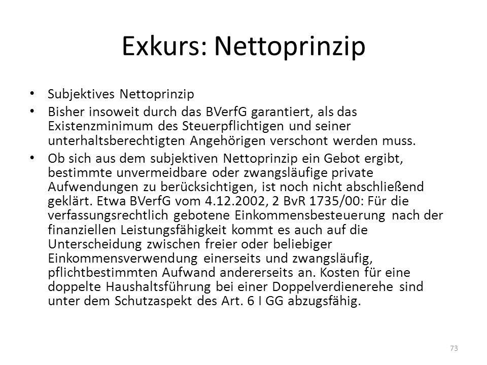 Exkurs: Nettoprinzip Subjektives Nettoprinzip