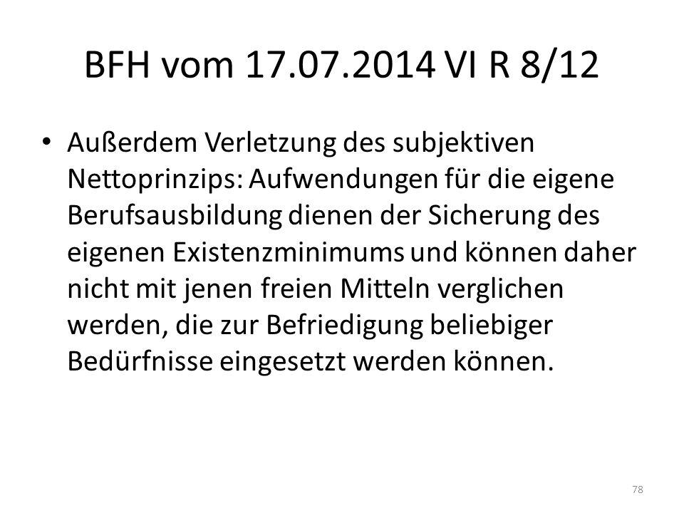BFH vom 17.07.2014 VI R 8/12