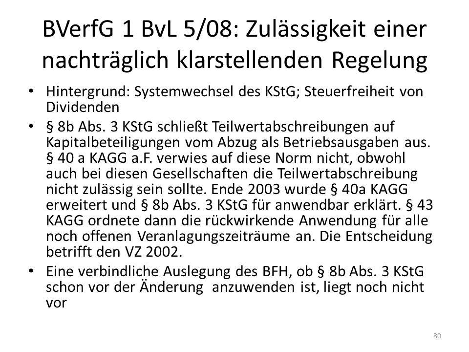 BVerfG 1 BvL 5/08: Zulässigkeit einer nachträglich klarstellenden Regelung