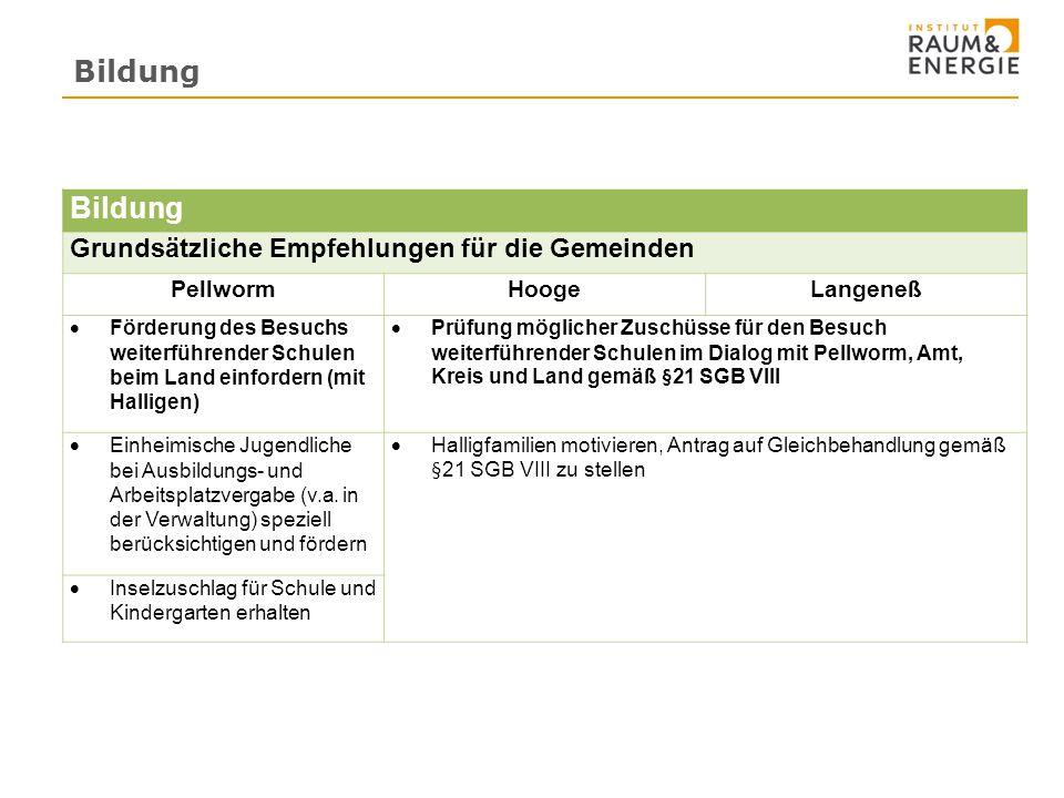 Bildung Bildung Grundsätzliche Empfehlungen für die Gemeinden Pellworm