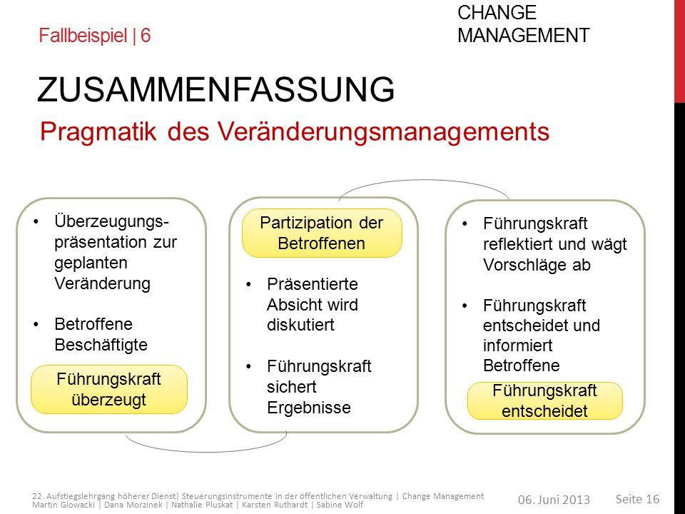 Zusammenfassung Pragmatik des Veränderungsmanagements