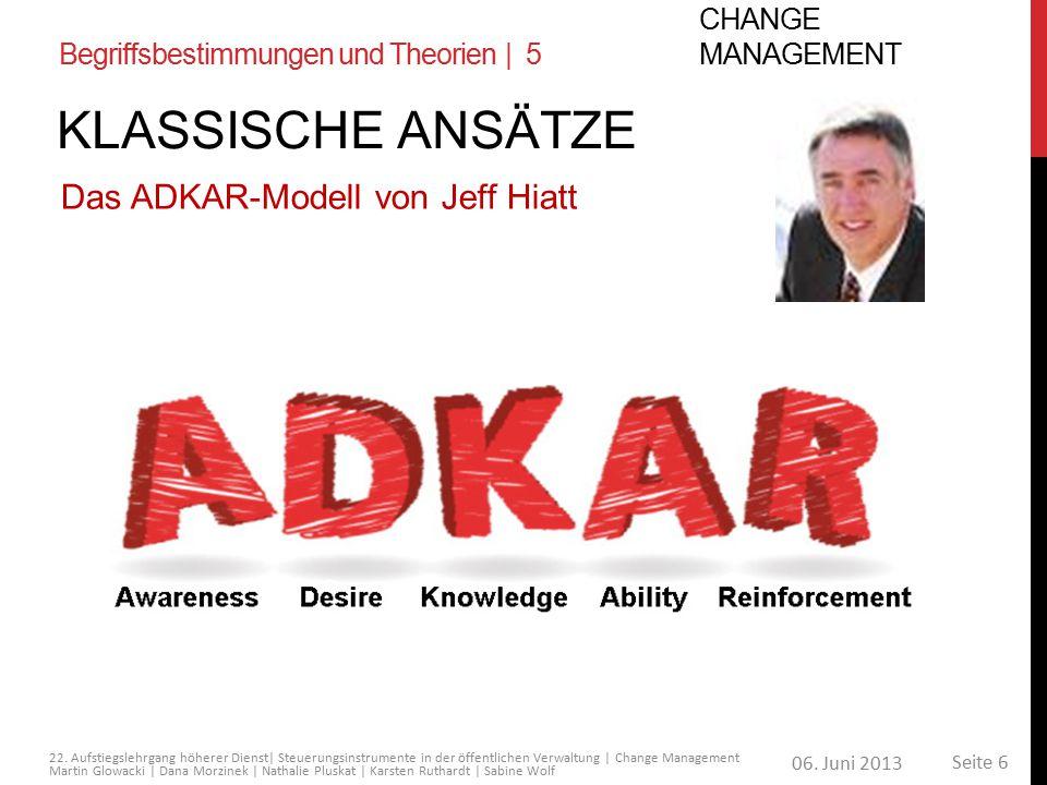 KLASSISCHE Ansätze Das ADKAR-Modell von Jeff Hiatt Change Management