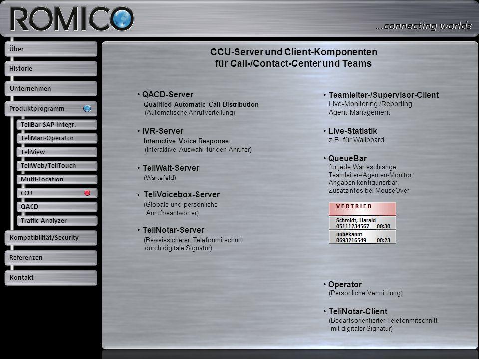 CCU-Server und Client-Komponenten für Call-/Contact-Center und Teams