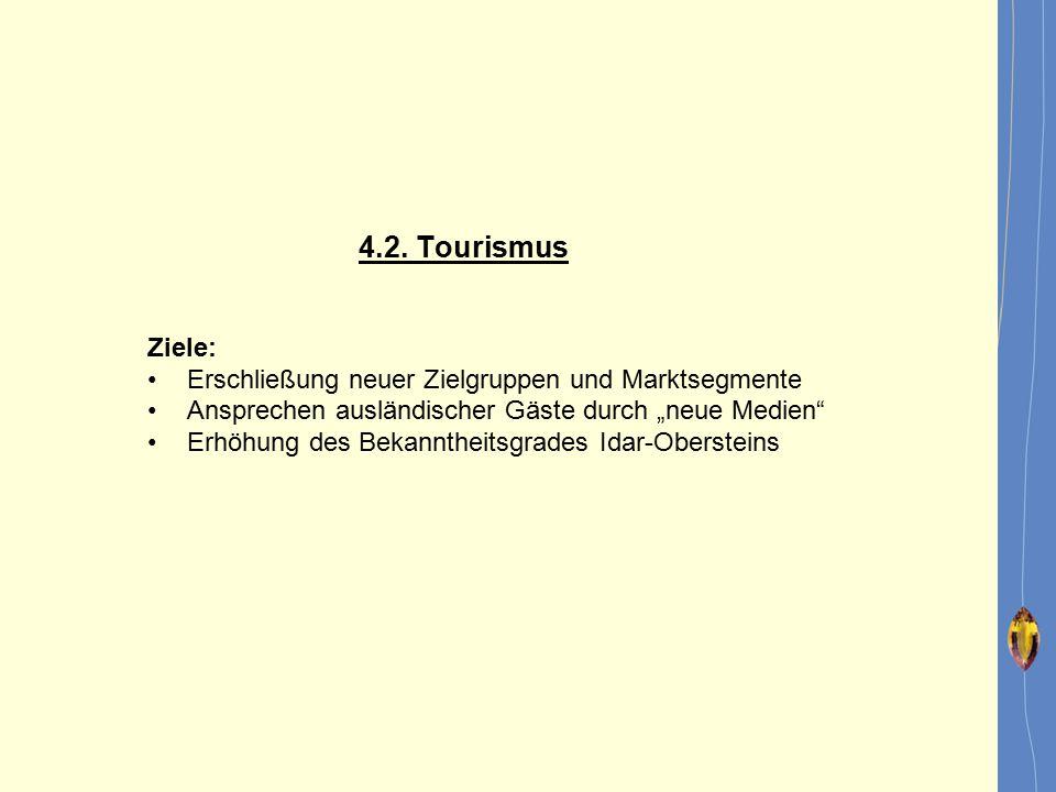"""4.2. Tourismus Ziele: Erschließung neuer Zielgruppen und Marktsegmente. Ansprechen ausländischer Gäste durch """"neue Medien"""