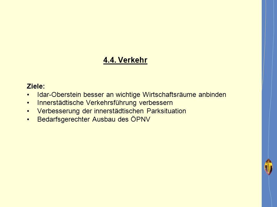 4.4. Verkehr Ziele: Idar-Oberstein besser an wichtige Wirtschaftsräume anbinden. Innerstädtische Verkehrsführung verbessern.