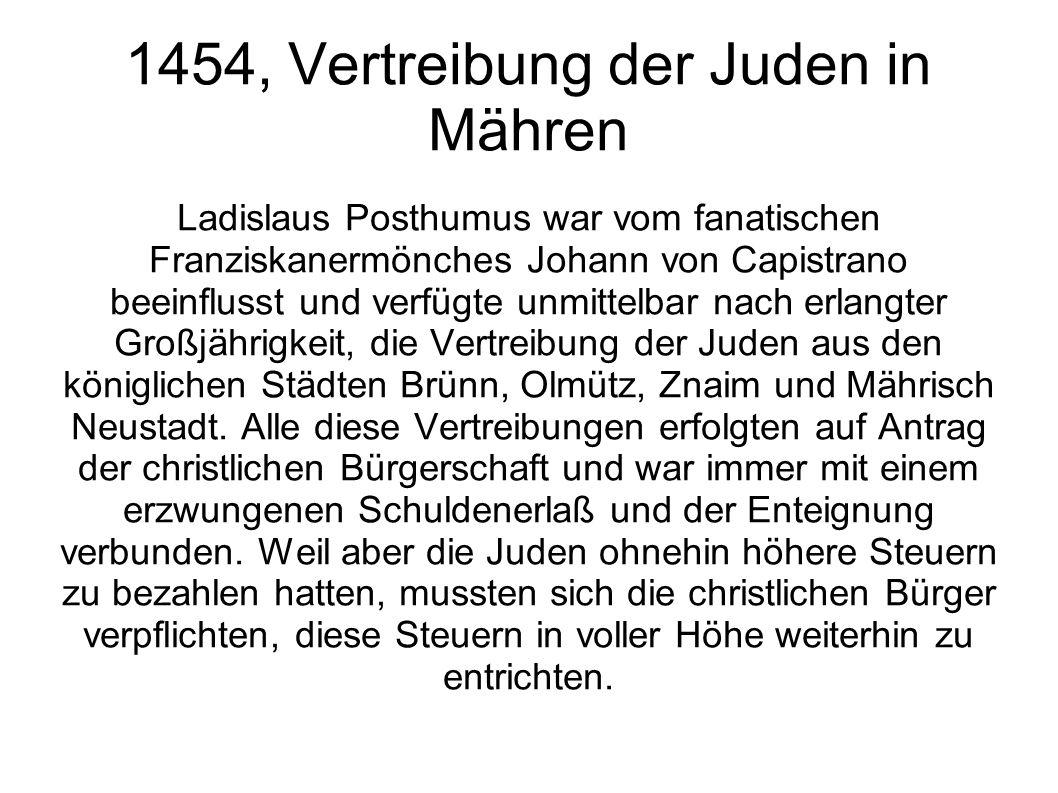 1454, Vertreibung der Juden in Mähren