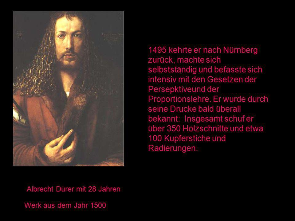 1495 kehrte er nach Nürnberg zurück, machte sich selbstständig und befasste sich intensiv mit den Gesetzen der Persepktiveund der Proportionslehre. Er wurde durch seine Drucke bald überall bekannt: Insgesamt schuf er über 350 Holzschnitte und etwa 100 Kupferstiche und Radierungen.