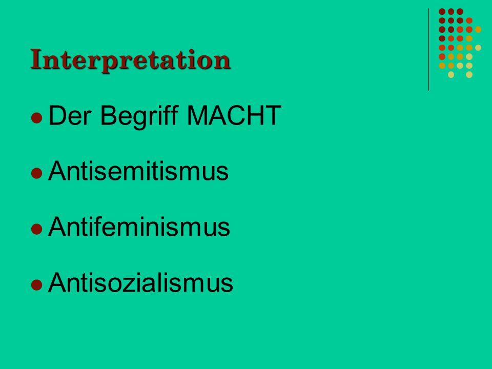 Der Begriff MACHT Antisemitismus Antifeminismus Antisozialismus