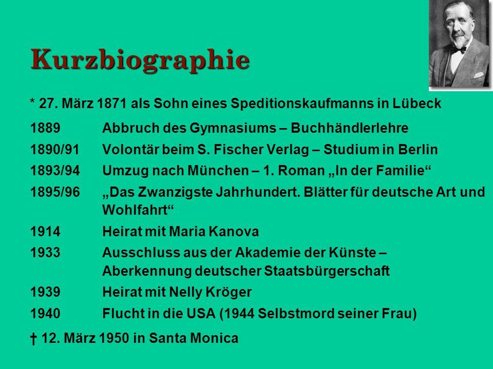 Kurzbiographie * 27. März 1871 als Sohn eines Speditionskaufmanns in Lübeck. 1889 Abbruch des Gymnasiums – Buchhändlerlehre.