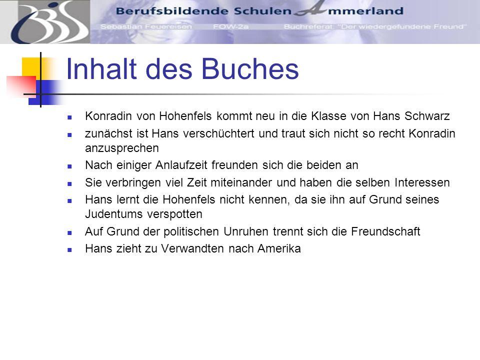Inhalt des Buches Konradin von Hohenfels kommt neu in die Klasse von Hans Schwarz.