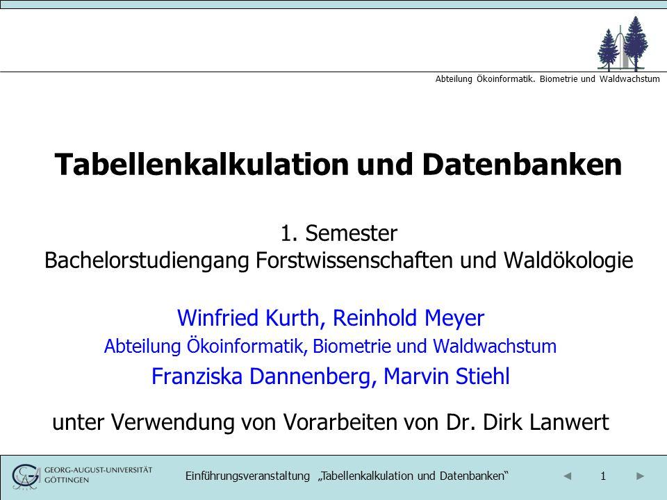 Tabellenkalkulation und Datenbanken 1