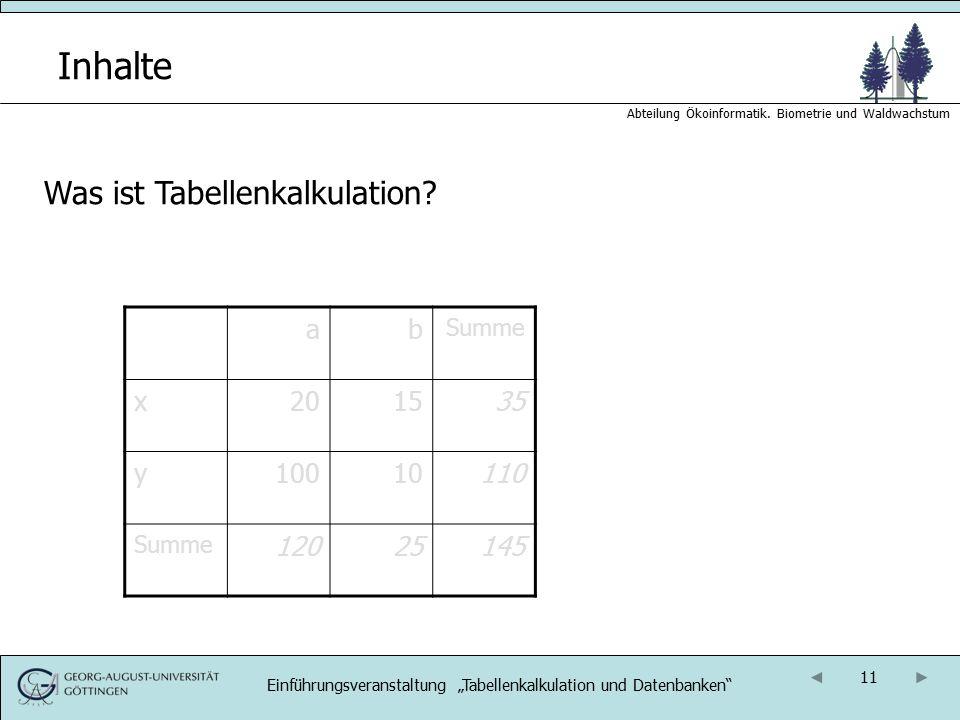 """Einführungsveranstaltung """"Tabellenkalkulation und Datenbanken"""