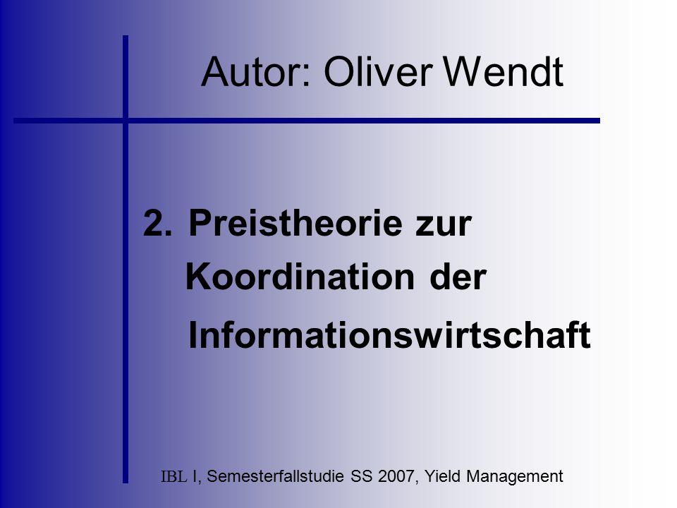 Preistheorie zur Koordination der Informationswirtschaft