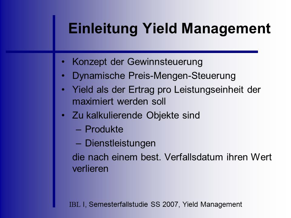 Einleitung Yield Management