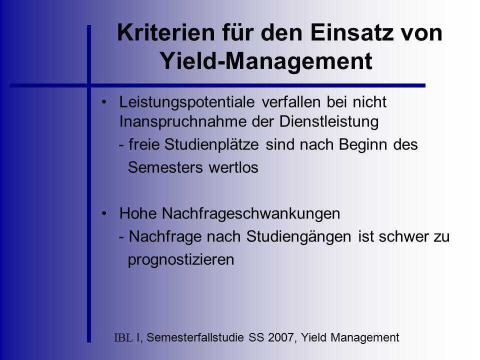 Kriterien für den Einsatz von Yield-Management