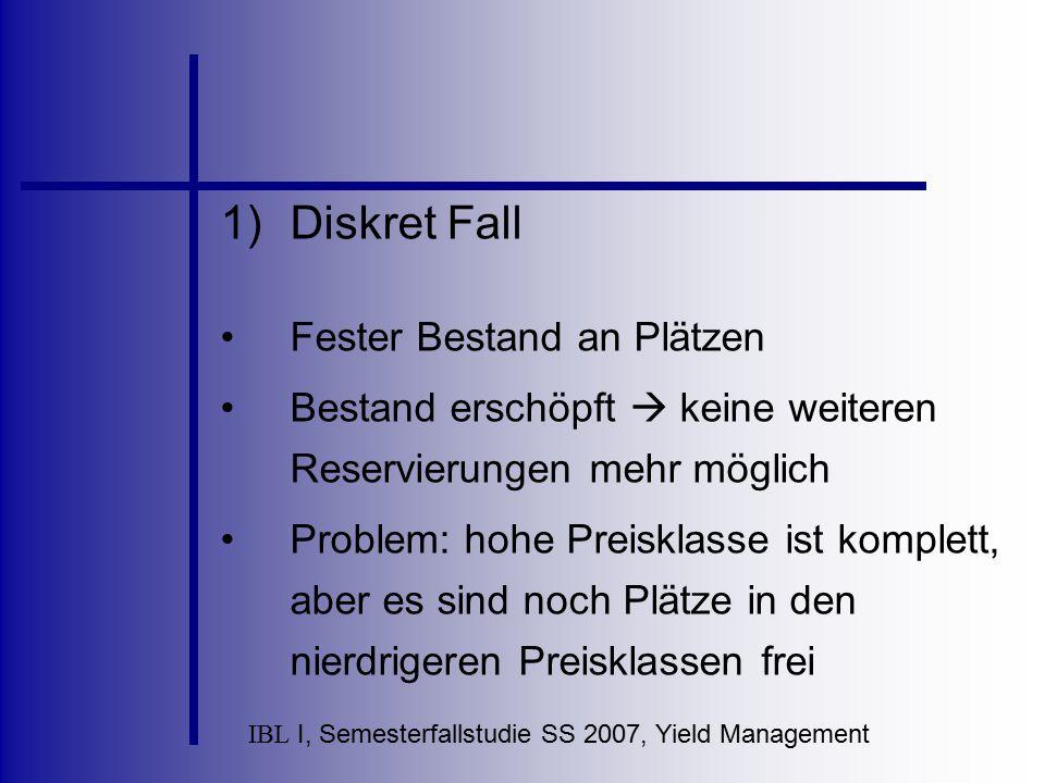 IBL I, Semesterfallstudie SS 2007, Yield Management