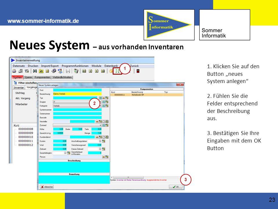 Neues System – aus vorhanden Inventaren