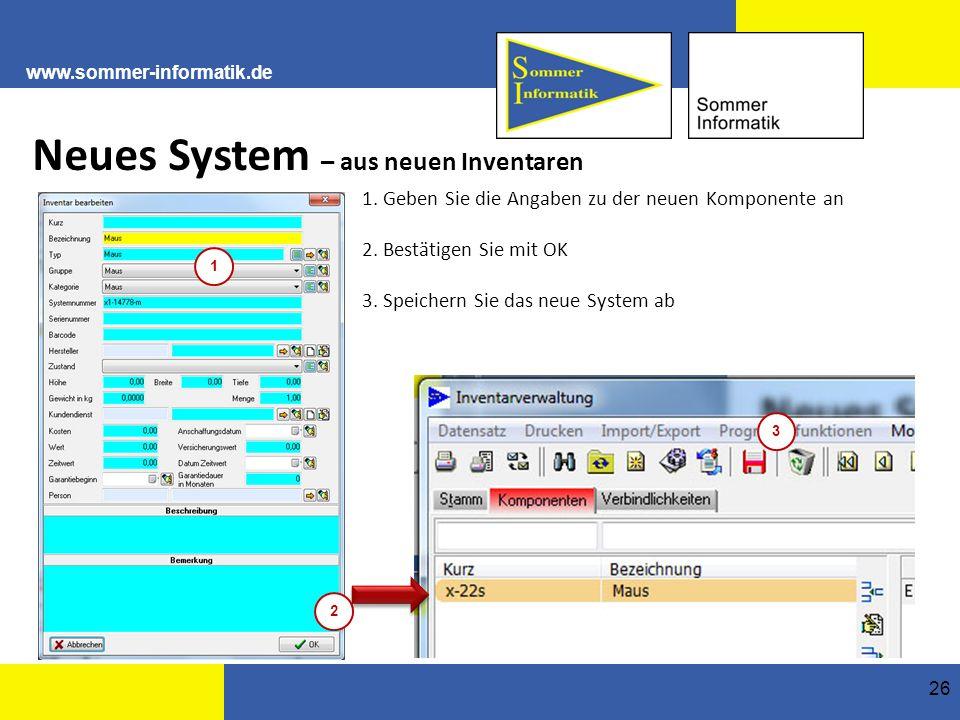 Neues System – aus neuen Inventaren
