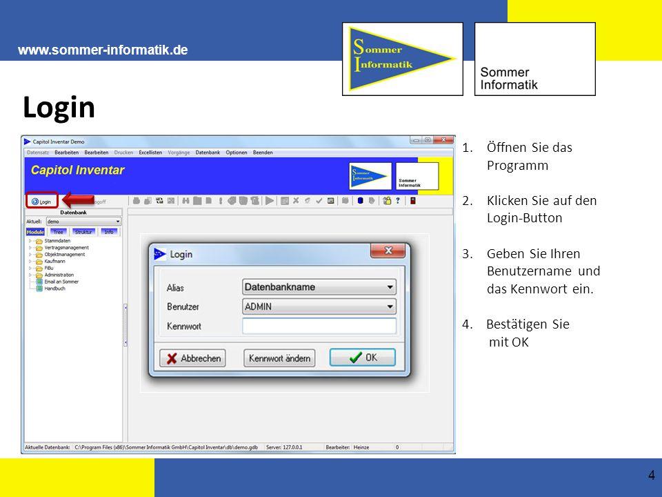 Login Öffnen Sie das Programm 2. Klicken Sie auf den Login-Button