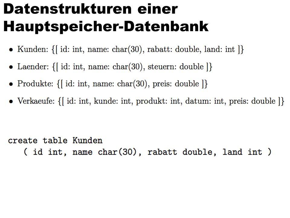 Datenstrukturen einer Hauptspeicher-Datenbank
