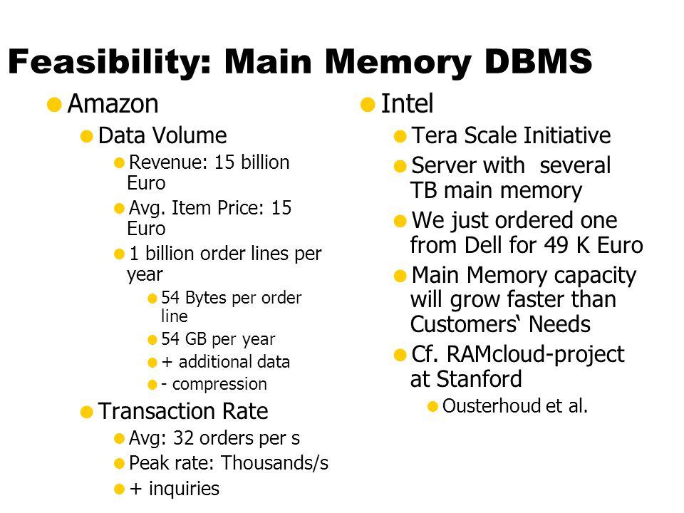 Feasibility: Main Memory DBMS
