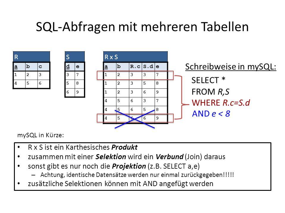 SQL-Abfragen mit mehreren Tabellen