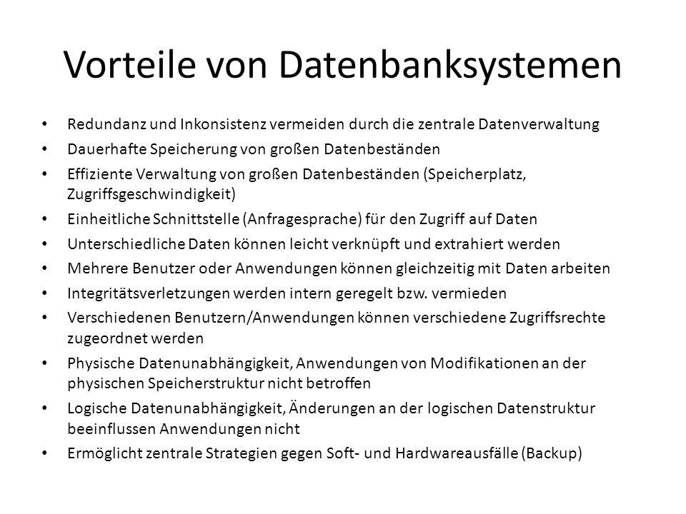 Vorteile von Datenbanksystemen