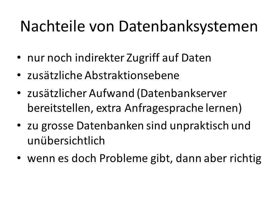 Nachteile von Datenbanksystemen