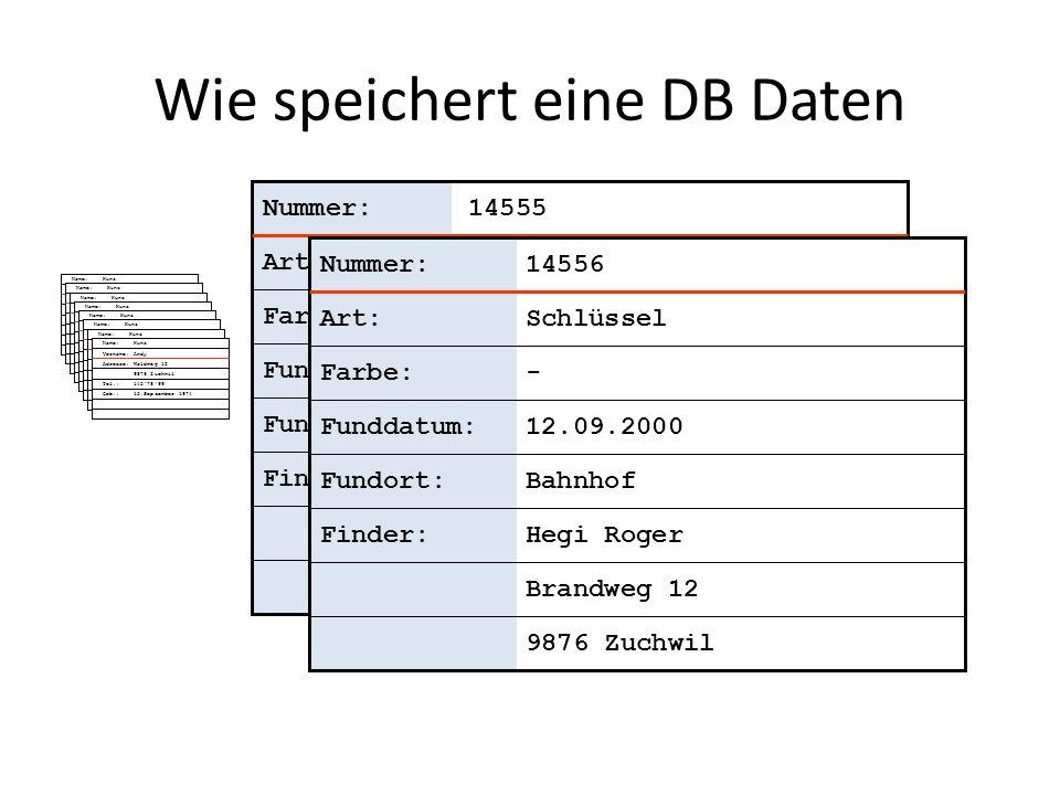 Wie speichert eine DB Daten
