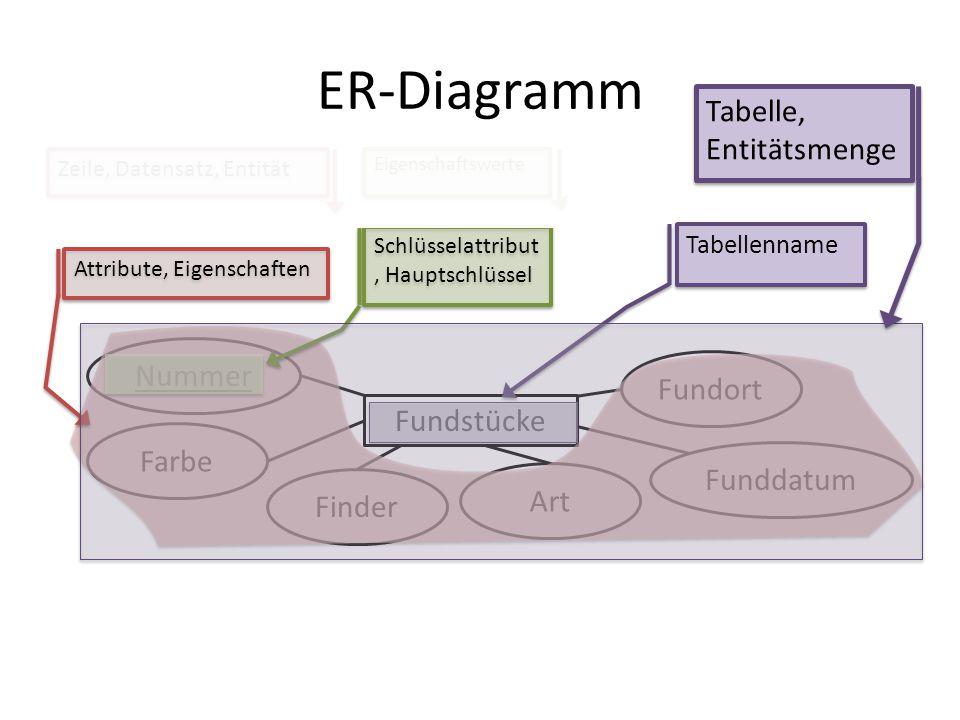 ER-Diagramm Tabelle, Entitätsmenge Nummer Fundort Fundstücke Farbe