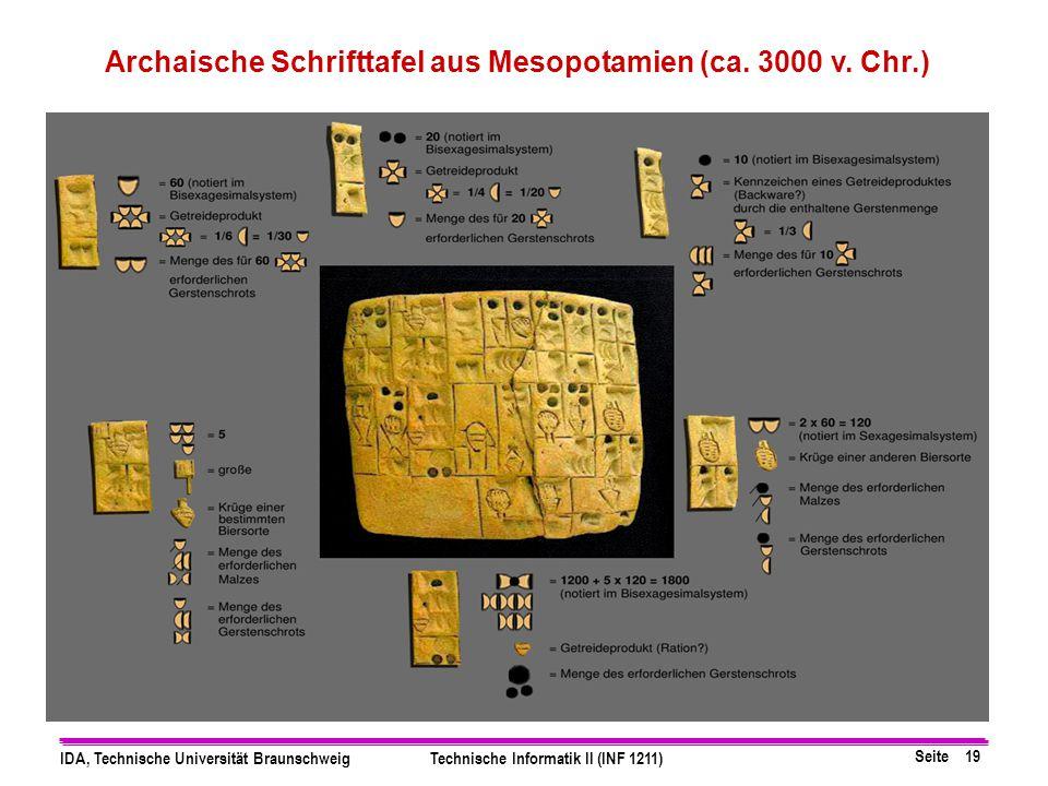 Archaische Schrifttafel aus Mesopotamien (ca. 3000 v. Chr.)
