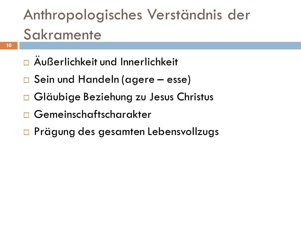 Anthropologisches Verständnis der Sakramente