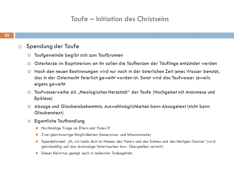 Taufe – Initiation des Christseins