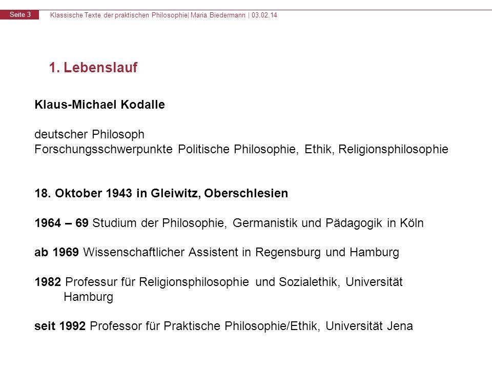 1. Lebenslauf Klaus-Michael Kodalle deutscher Philosoph