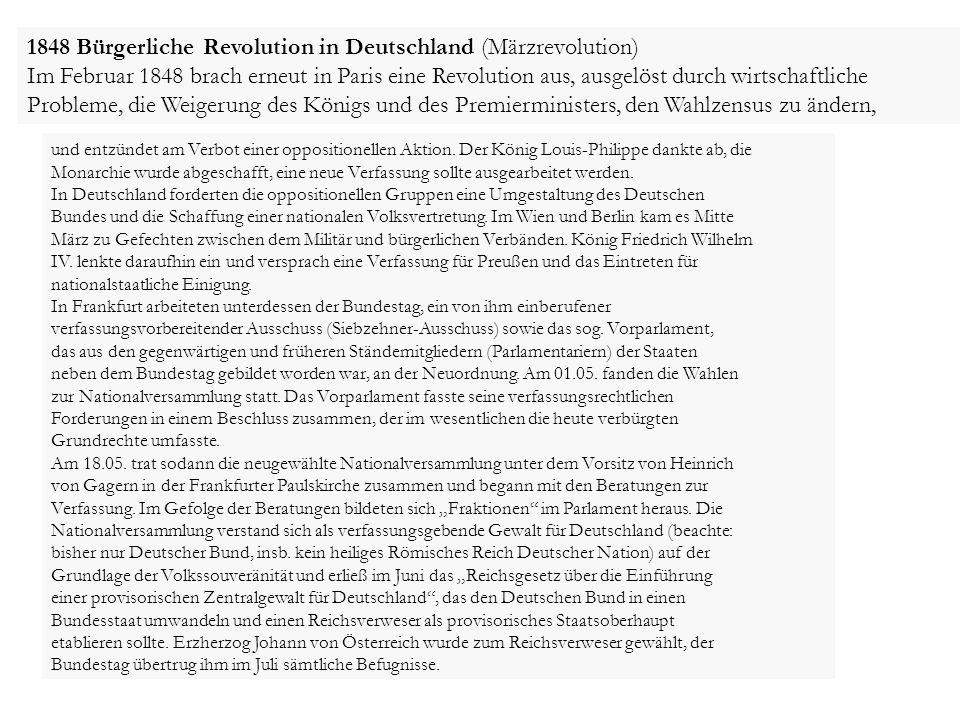 1848 Bürgerliche Revolution in Deutschland (Märzrevolution)