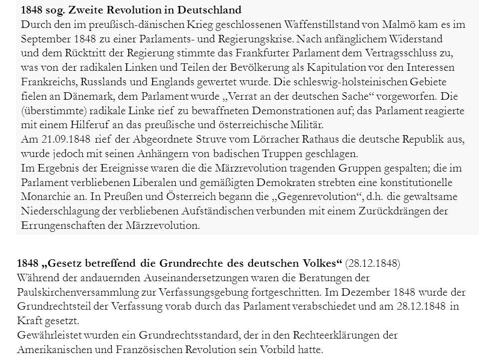 1848 sog. Zweite Revolution in Deutschland