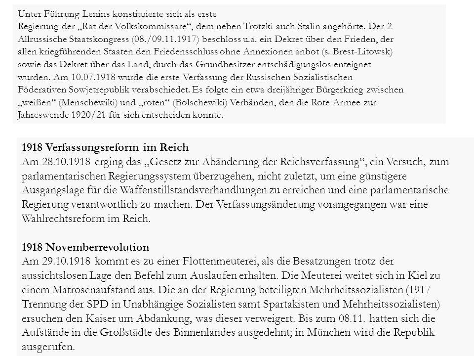 1918 Verfassungsreform im Reich
