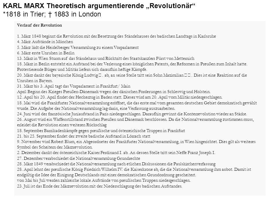"""KARL MARX Theoretisch argumentierende """"Revolutionär"""