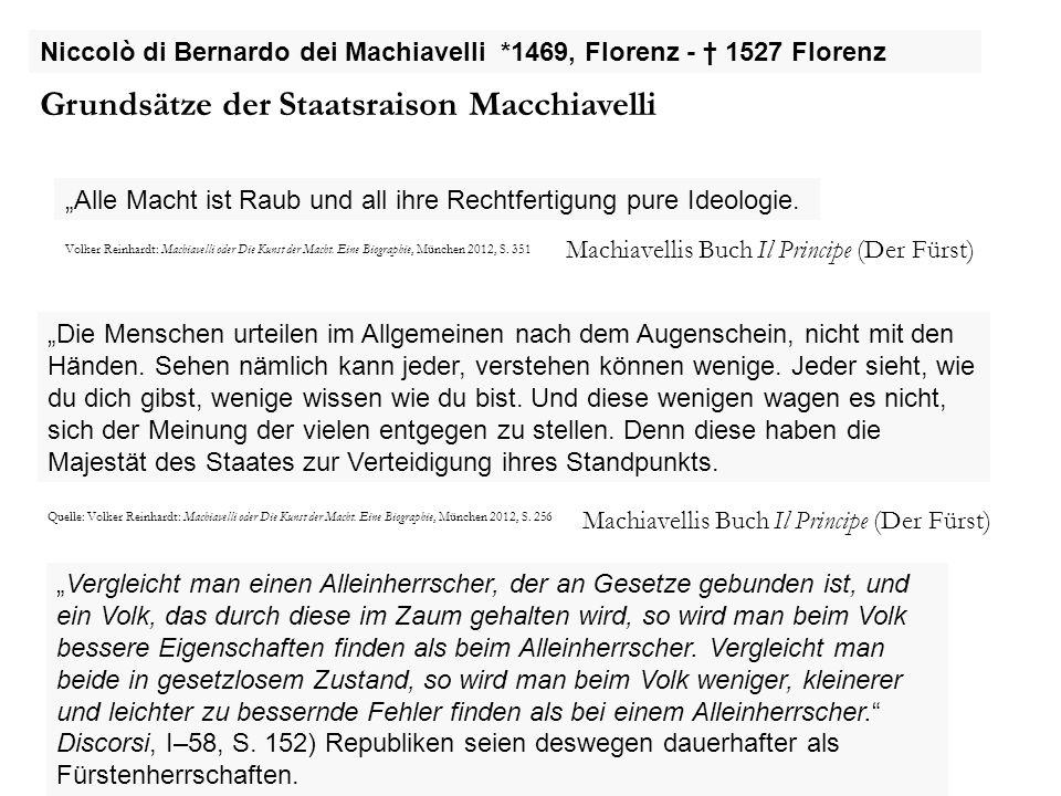 Grundsätze der Staatsraison Macchiavelli