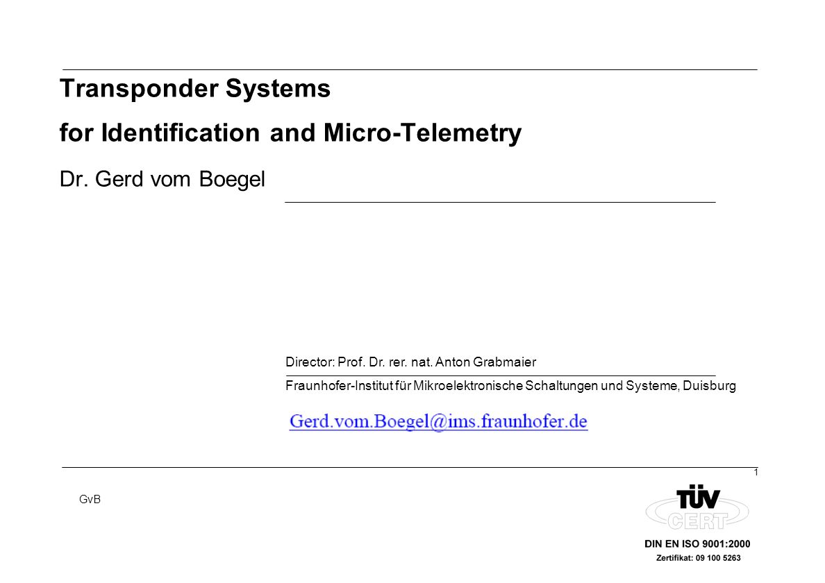 Transponder Systems for Identification and Micro-Telemetry Dr