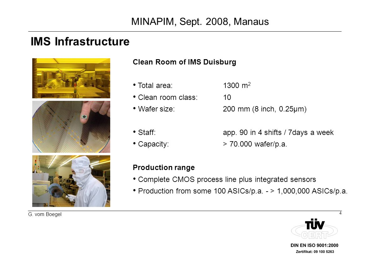 IMS Infrastructure Clean Room of IMS Duisburg Total area: 1300 m2